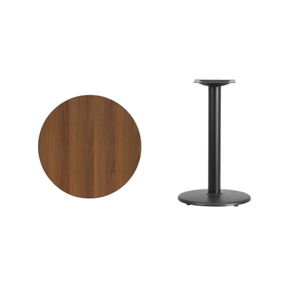 Lowest Price 24'' Round Walnut Laminate Table Top with 18'' Round Table Height Base