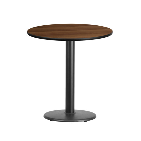 Wholesale 24'' Round Walnut Laminate Table Top with 18'' Round Table Height Base