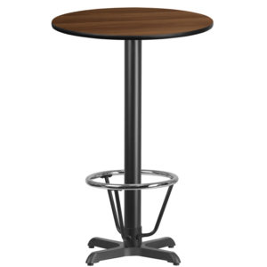Wholesale 24'' Round Walnut Laminate Table Top with 22'' x 22'' Bar Height Table Base and Foot Ring