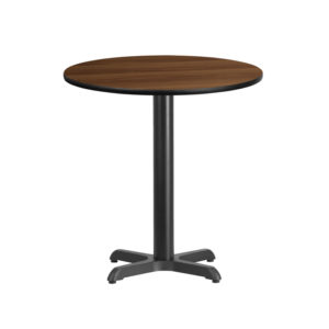 Wholesale 24'' Round Walnut Laminate Table Top with 22'' x 22'' Table Height Base