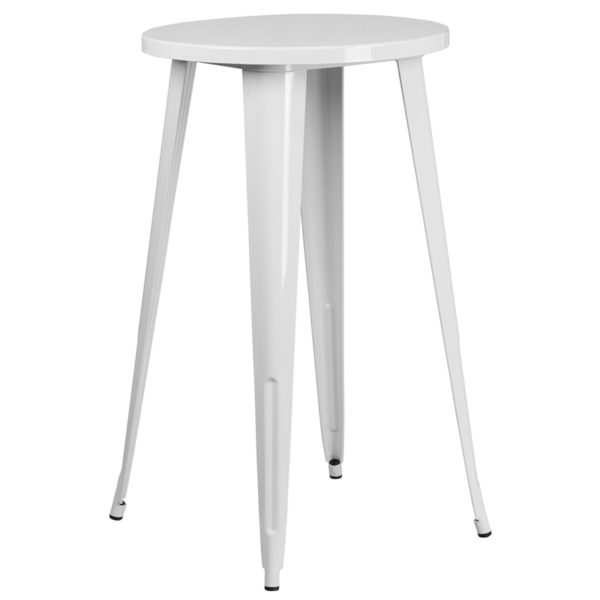 Wholesale 24'' Round White Metal Indoor-Outdoor Bar Height Table