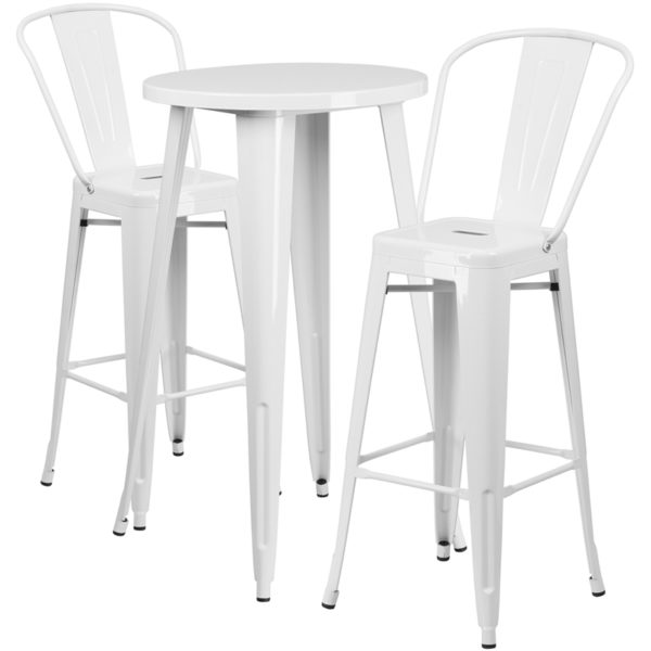 Lowest Price 24'' Round White Metal Indoor-Outdoor Bar Table Set with 2 Cafe Stools