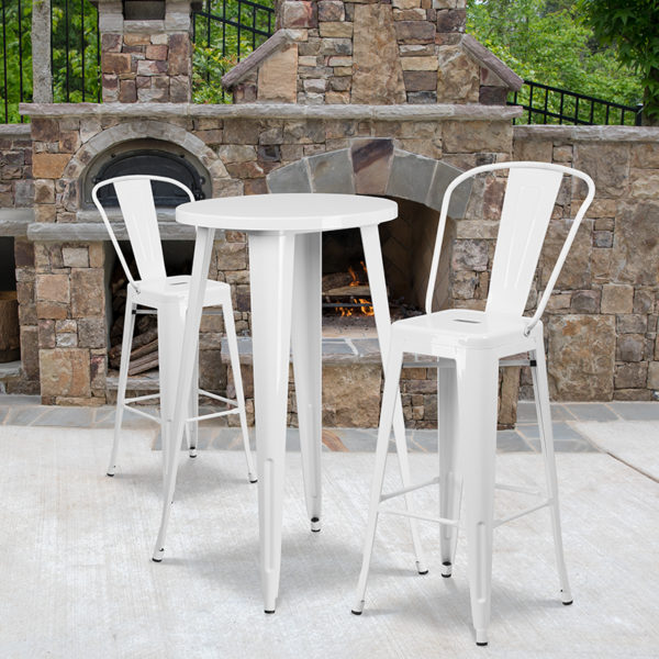 Wholesale 24'' Round White Metal Indoor-Outdoor Bar Table Set with 2 Cafe Stools