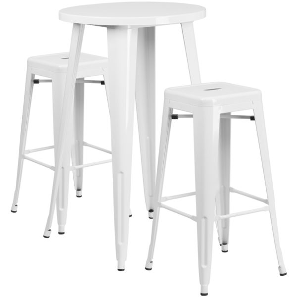 Lowest Price 24'' Round White Metal Indoor-Outdoor Bar Table Set with 2 Square Seat Backless Stools