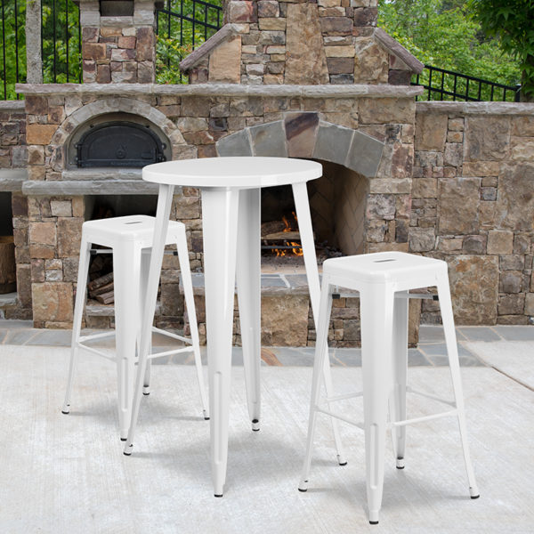 Wholesale 24'' Round White Metal Indoor-Outdoor Bar Table Set with 2 Square Seat Backless Stools