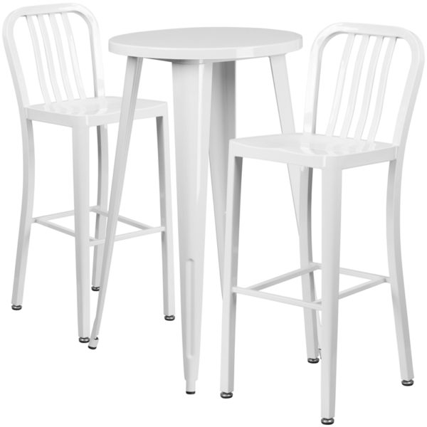 Lowest Price 24'' Round White Metal Indoor-Outdoor Bar Table Set with 2 Vertical Slat Back Stools