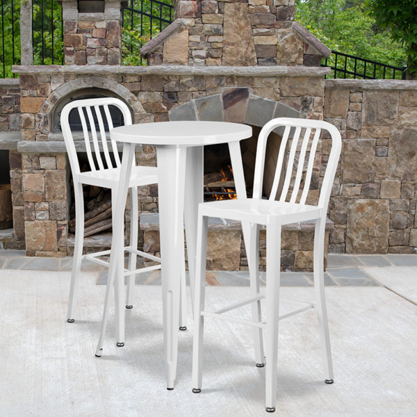 Wholesale 24'' Round White Metal Indoor-Outdoor Bar Table Set with 2 Vertical Slat Back Stools