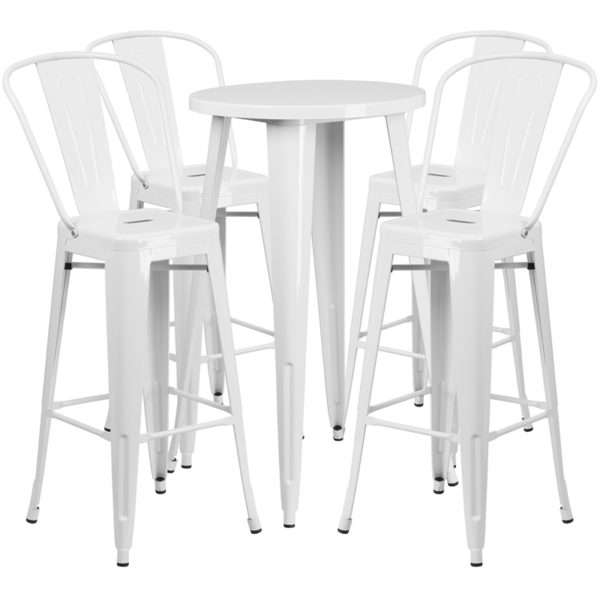 Lowest Price 24'' Round White Metal Indoor-Outdoor Bar Table Set with 4 Cafe Stools