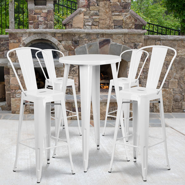 Wholesale 24'' Round White Metal Indoor-Outdoor Bar Table Set with 4 Cafe Stools