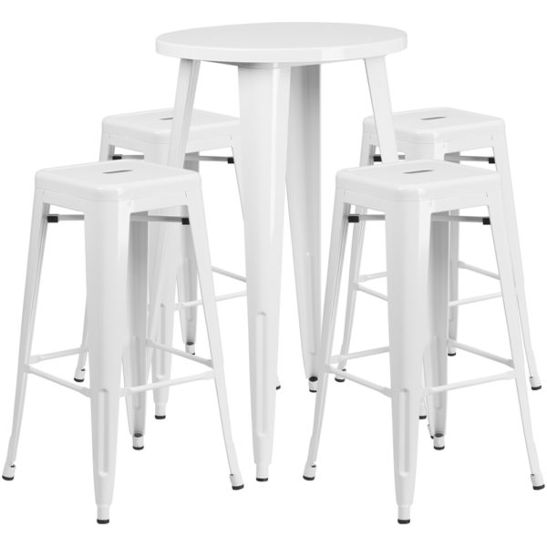 Lowest Price 24'' Round White Metal Indoor-Outdoor Bar Table Set with 4 Square Seat Backless Stools