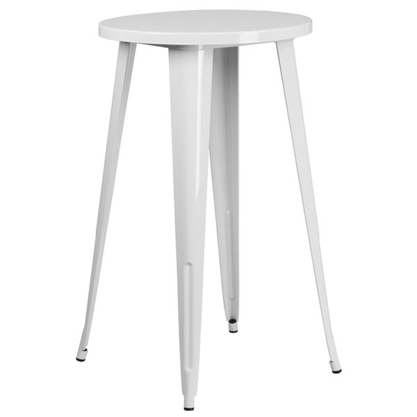 Bar Height Table and Stool Set 24RD White Metal Bar Set