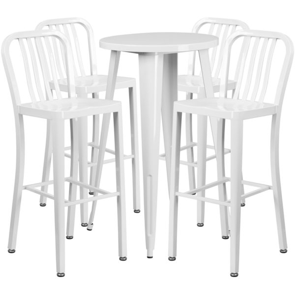 Lowest Price 24'' Round White Metal Indoor-Outdoor Bar Table Set with 4 Vertical Slat Back Stools