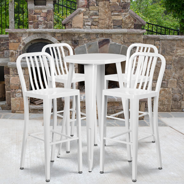 Wholesale 24'' Round White Metal Indoor-Outdoor Bar Table Set with 4 Vertical Slat Back Stools