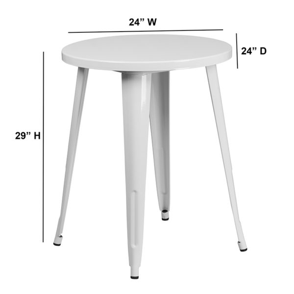 Lowest Price 24'' Round White Metal Indoor-Outdoor Table
