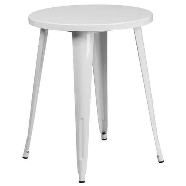Wholesale 24'' Round White Metal Indoor-Outdoor Table