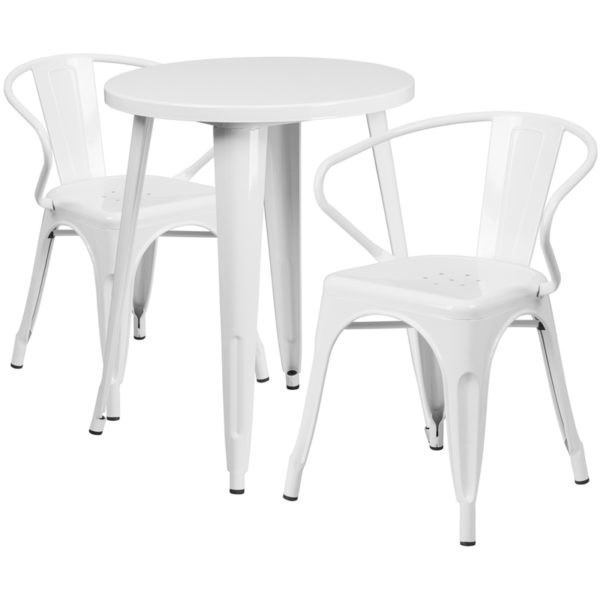 Wholesale 24'' Round White Metal Indoor-Outdoor Table Set with 2 Arm Chairs