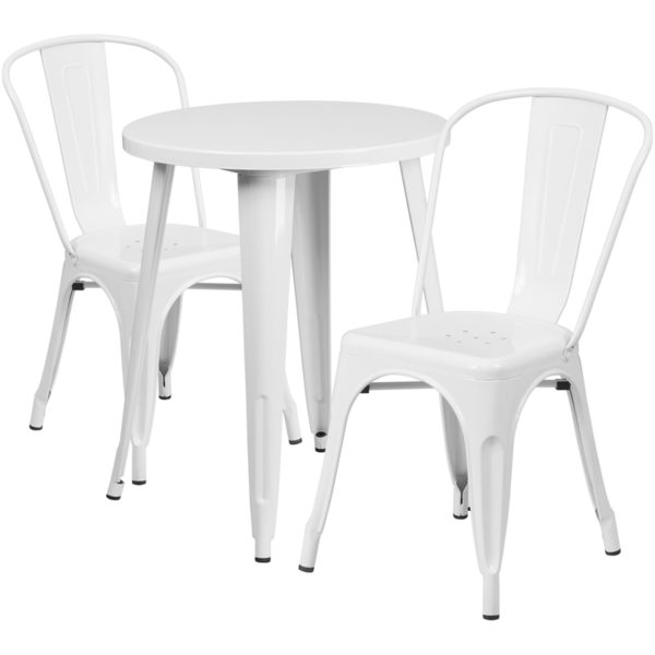 Wholesale 24'' Round White Metal Indoor-Outdoor Table Set with 2 Cafe Chairs