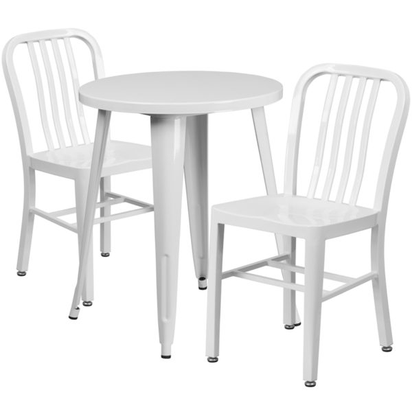 Wholesale 24'' Round White Metal Indoor-Outdoor Table Set with 2 Vertical Slat Back Chairs