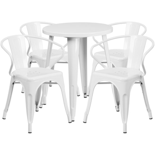 Wholesale 24'' Round White Metal Indoor-Outdoor Table Set with 4 Arm Chairs