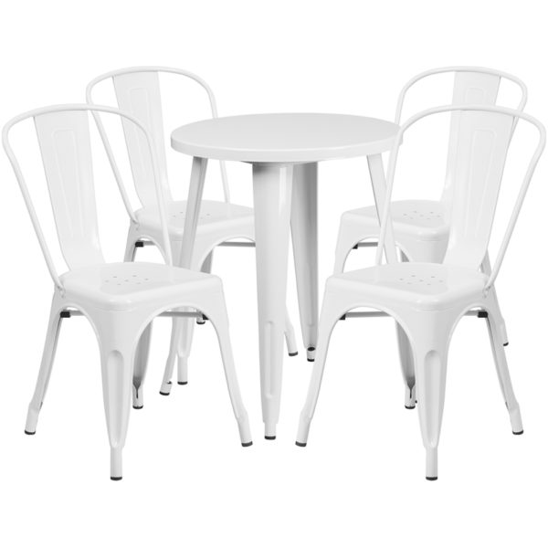 Wholesale 24'' Round White Metal Indoor-Outdoor Table Set with 4 Cafe Chairs