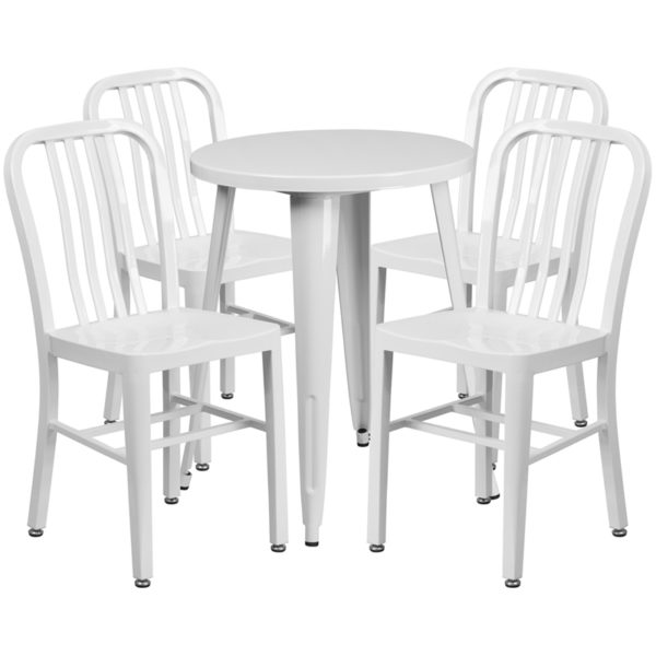 Wholesale 24'' Round White Metal Indoor-Outdoor Table Set with 4 Vertical Slat Back Chairs