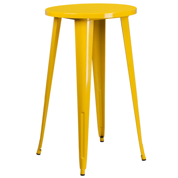 Wholesale 24'' Round Yellow Metal Indoor-Outdoor Bar Height Table