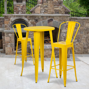 Wholesale 24'' Round Yellow Metal Indoor-Outdoor Bar Table Set with 2 Cafe Stools