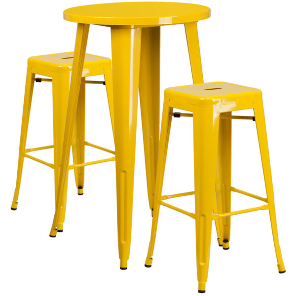 Lowest Price 24'' Round Yellow Metal Indoor-Outdoor Bar Table Set with 2 Square Seat Backless Stools