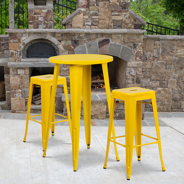 Wholesale 24'' Round Yellow Metal Indoor-Outdoor Bar Table Set with 2 Square Seat Backless Stools