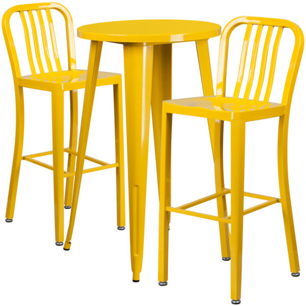 Lowest Price 24'' Round Yellow Metal Indoor-Outdoor Bar Table Set with 2 Vertical Slat Back Stools