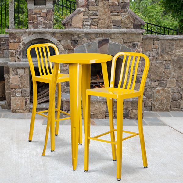 Wholesale 24'' Round Yellow Metal Indoor-Outdoor Bar Table Set with 2 Vertical Slat Back Stools