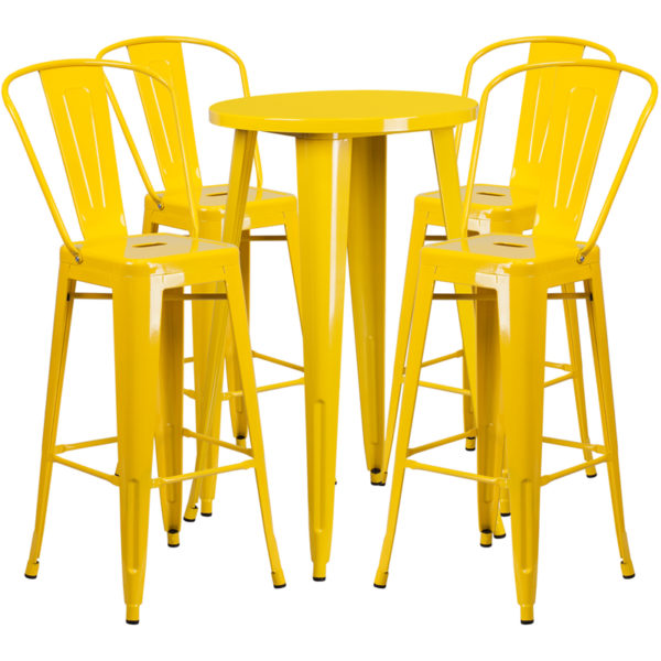 Lowest Price 24'' Round Yellow Metal Indoor-Outdoor Bar Table Set with 4 Cafe Stools