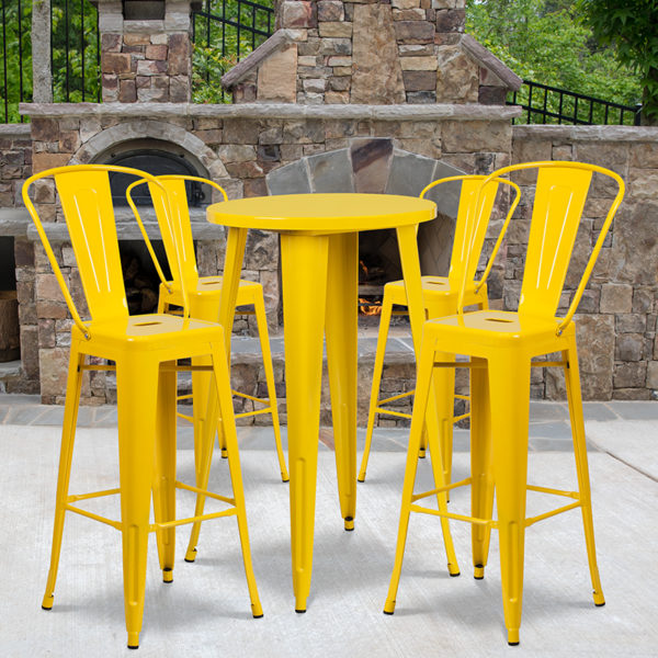 Wholesale 24'' Round Yellow Metal Indoor-Outdoor Bar Table Set with 4 Cafe Stools
