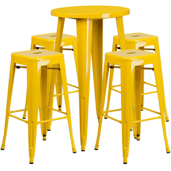 Lowest Price 24'' Round Yellow Metal Indoor-Outdoor Bar Table Set with 4 Square Seat Backless Stools