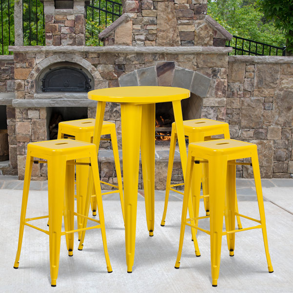 Wholesale 24'' Round Yellow Metal Indoor-Outdoor Bar Table Set with 4 Square Seat Backless Stools