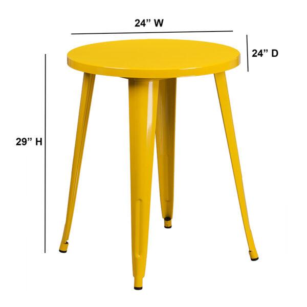 Lowest Price 24'' Round Yellow Metal Indoor-Outdoor Table