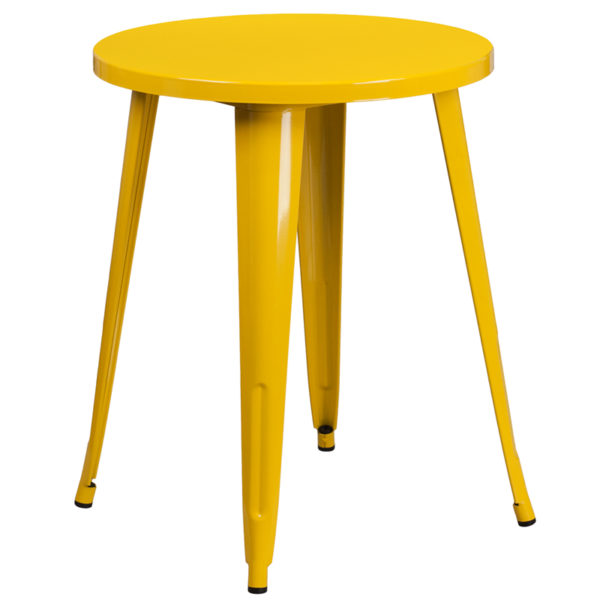 Wholesale 24'' Round Yellow Metal Indoor-Outdoor Table