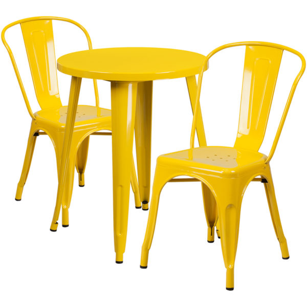 Wholesale 24'' Round Yellow Metal Indoor-Outdoor Table Set with 2 Cafe Chairs