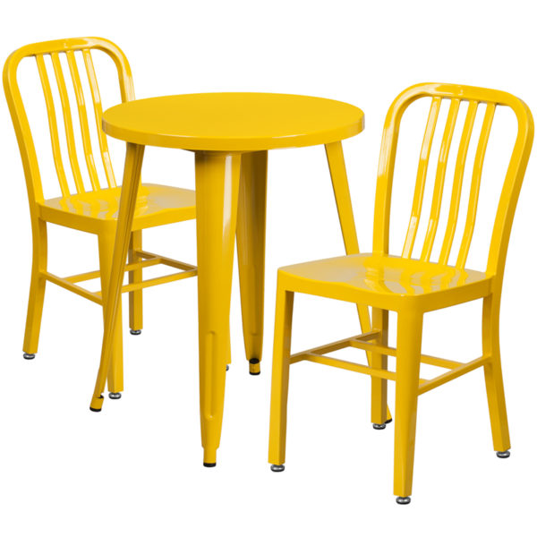 Wholesale 24'' Round Yellow Metal Indoor-Outdoor Table Set with 2 Vertical Slat Back Chairs
