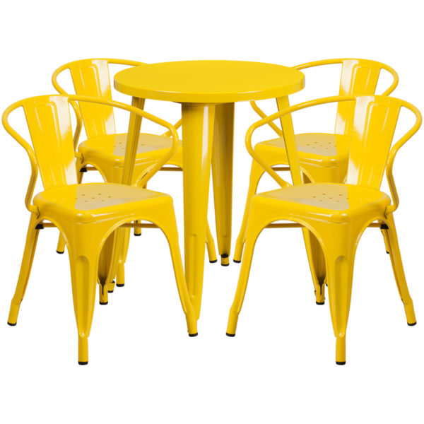 Wholesale 24'' Round Yellow Metal Indoor-Outdoor Table Set with 4 Arm Chairs