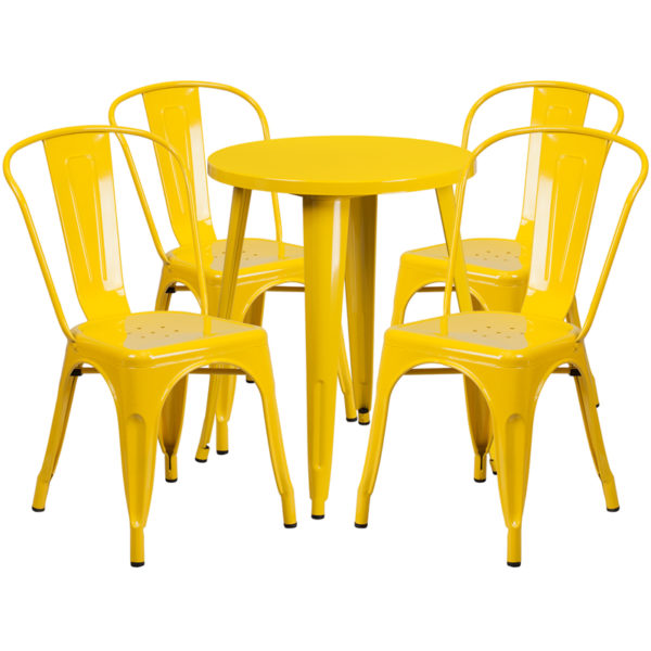 Wholesale 24'' Round Yellow Metal Indoor-Outdoor Table Set with 4 Cafe Chairs