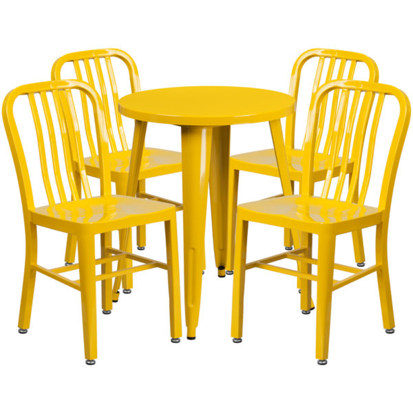 Wholesale 24'' Round Yellow Metal Indoor-Outdoor Table Set with 4 Vertical Slat Back Chairs