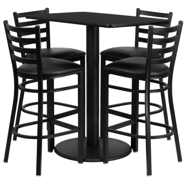 Lowest Price 24'' x 42'' Rectangular Black Laminate Table Set with 4 Ladder Back Metal Barstools - Black Vinyl Seat