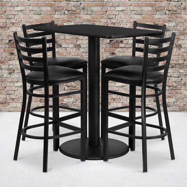 Wholesale 24'' x 42'' Rectangular Black Laminate Table Set with 4 Ladder Back Metal Barstools - Black Vinyl Seat