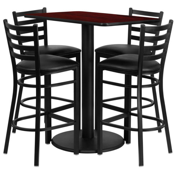 Lowest Price 24'' x 42'' Rectangular Mahogany Laminate Table Set with 4 Ladder Back Metal Barstools - Black Vinyl Seat