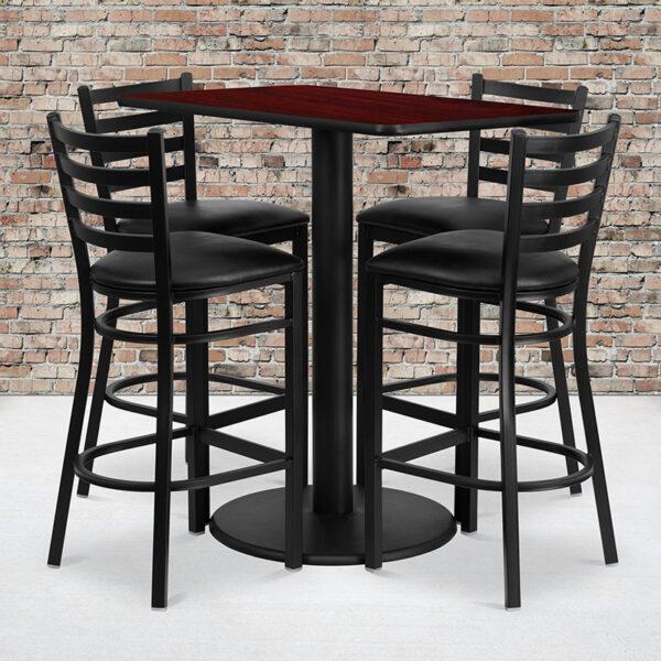 Wholesale 24'' x 42'' Rectangular Mahogany Laminate Table Set with 4 Ladder Back Metal Barstools - Black Vinyl Seat
