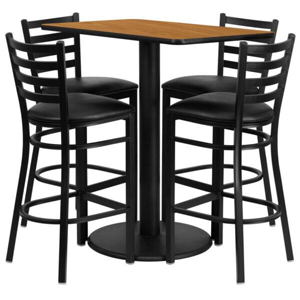 Lowest Price 24'' x 42'' Rectangular Natural Laminate Table Set with 4 Ladder Back Metal Barstools - Black Vinyl Seat