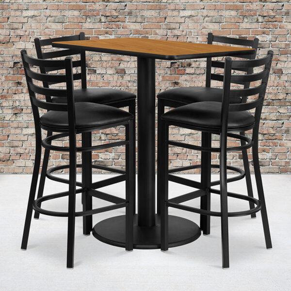Wholesale 24'' x 42'' Rectangular Natural Laminate Table Set with 4 Ladder Back Metal Barstools - Black Vinyl Seat