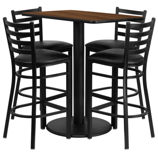 Lowest Price 24'' x 42'' Rectangular Walnut Laminate Table Set with 4 Ladder Back Metal Barstools - Black Vinyl Seat