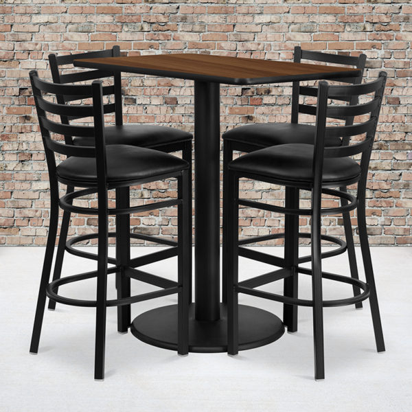 Wholesale 24'' x 42'' Rectangular Walnut Laminate Table Set with 4 Ladder Back Metal Barstools - Black Vinyl Seat